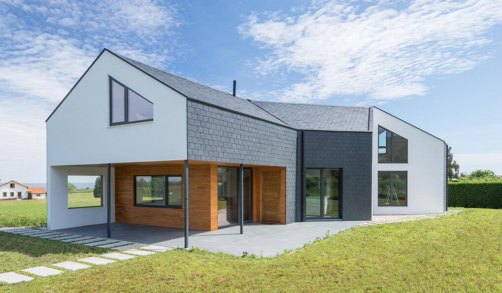 house with slate rainscreen cladding