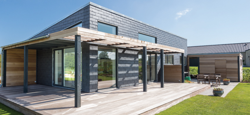house with slate cladding panels