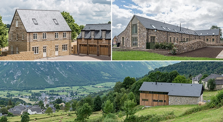 rustic style houses with stone, wood and slate