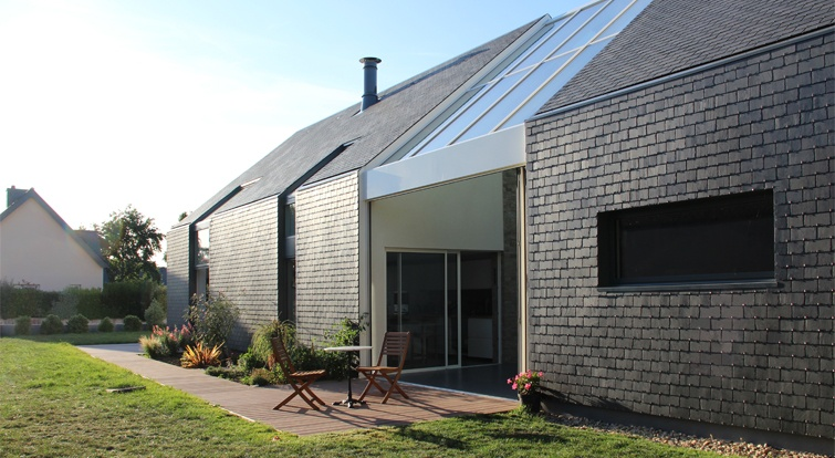 house in Britanny (France) with slate facade