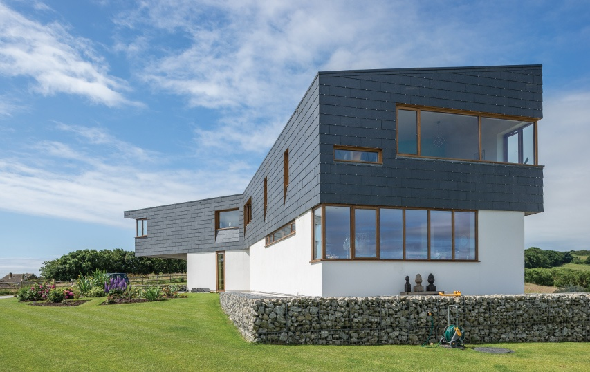 house with rainscreen cladding stone slate