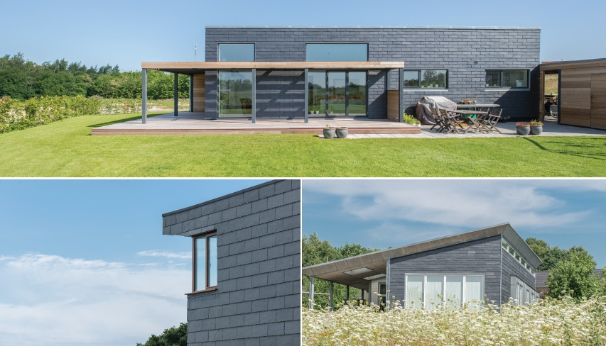 3 houses with slate cladding