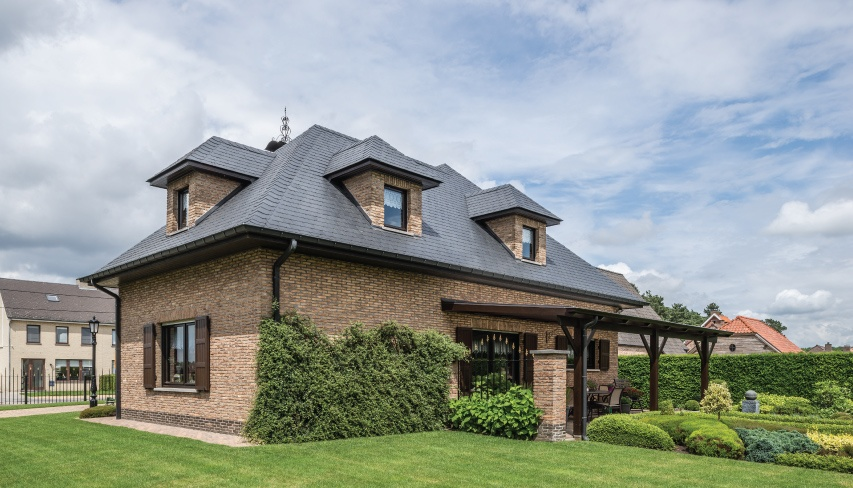 house with slate piched roof in Belgium