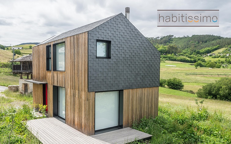 casa modular con cubierta de pizarra en Asturias