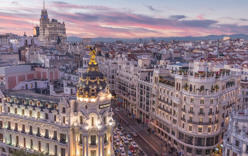 aerial view of the metropolis building Madrid