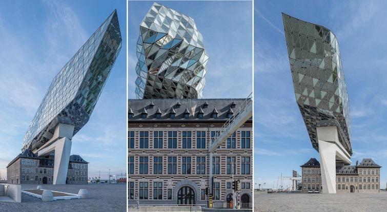 varias imagenes de la casa del puerto en amberes - arquitectos zaha hadid