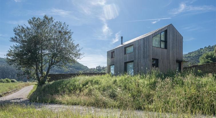 modular house with natural slate