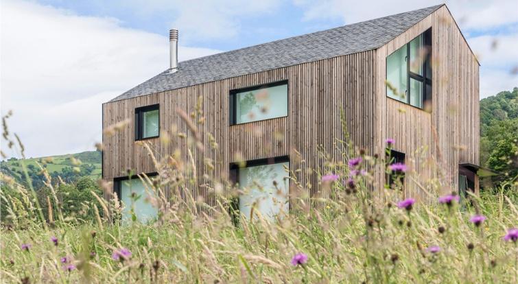 modular home with slate
