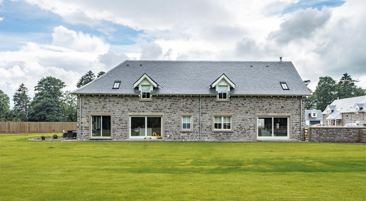 house with natural stone and slate