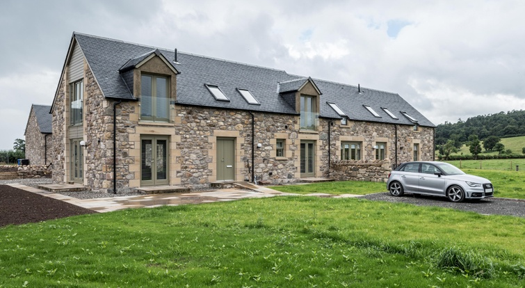 House with slate roofs in Blairlogie Scotland