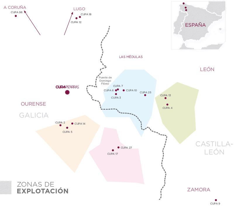 mapa de las canteras de pizarra