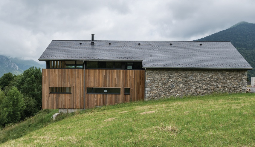 thermoslate in the slate roof of a house in the french pyrenees