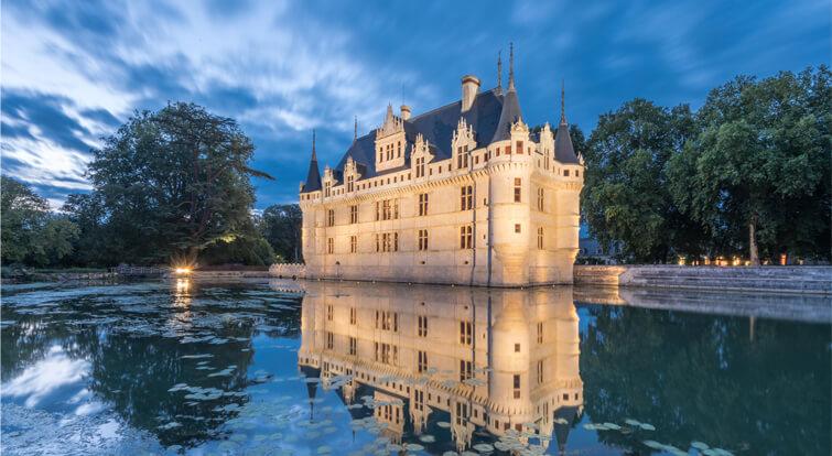 Château d'Azay-le-Rideau foto nocturna