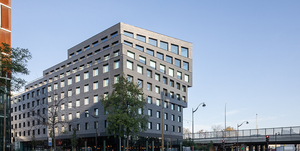 modern slate cladding building Binet Paris
