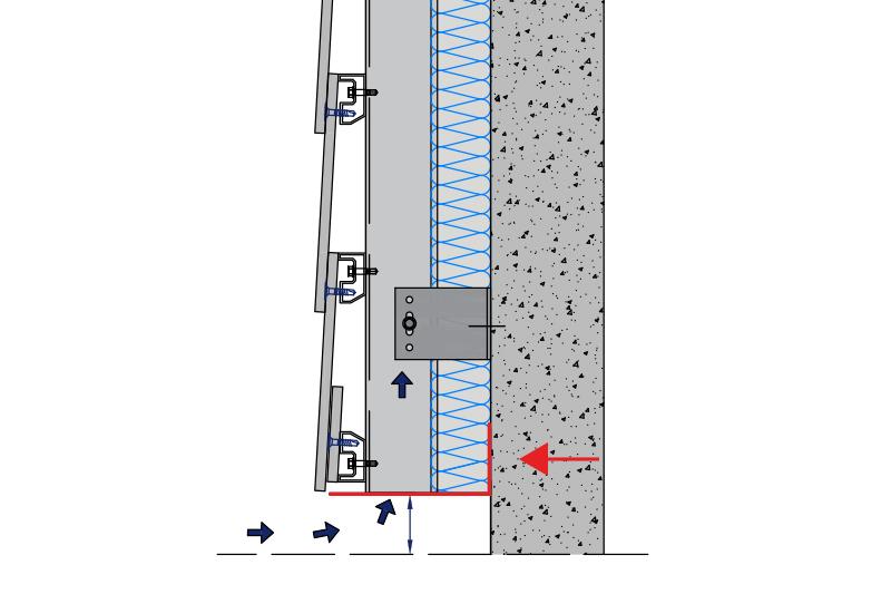 ouverture avec profilé perforé en pied de façade