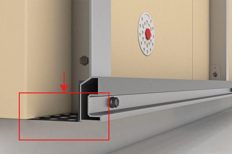 profilé perforé dans l'ouverture inférieur de la façade ventilée