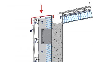 upper opening of a rainscreen-cladding
