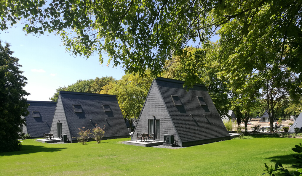 natural slate rock in roof and facade