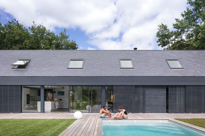 huis in baden met dak in leien