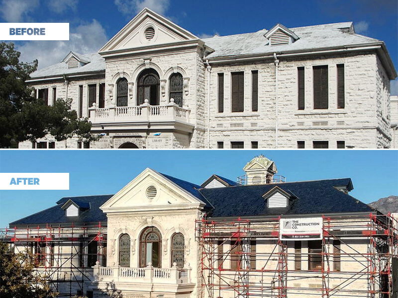 before and after renovation of therondebosch library in Cape Town