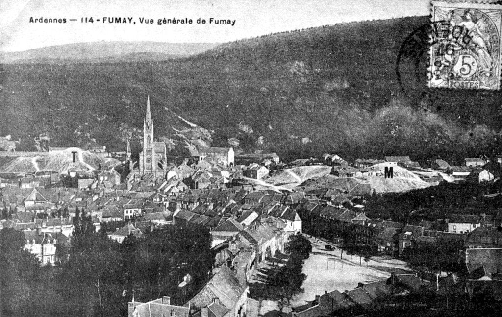 ardoisieres de ardennes, vue de Fumay fin 19è siècle