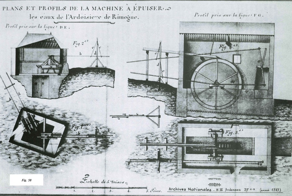 Mécanisme de la machine à épuiser (Archives nationales)