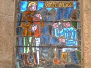 Détail du vitrail de Sainte-Barbe Dessin par Pierre Toulhoat, 1977, église de Maël-Carhaix
