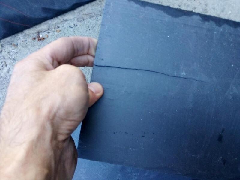 slate roof crack