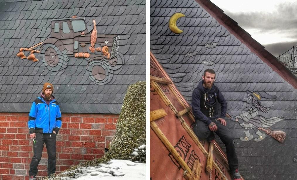 michael weiss tejado con pizarra decorativa