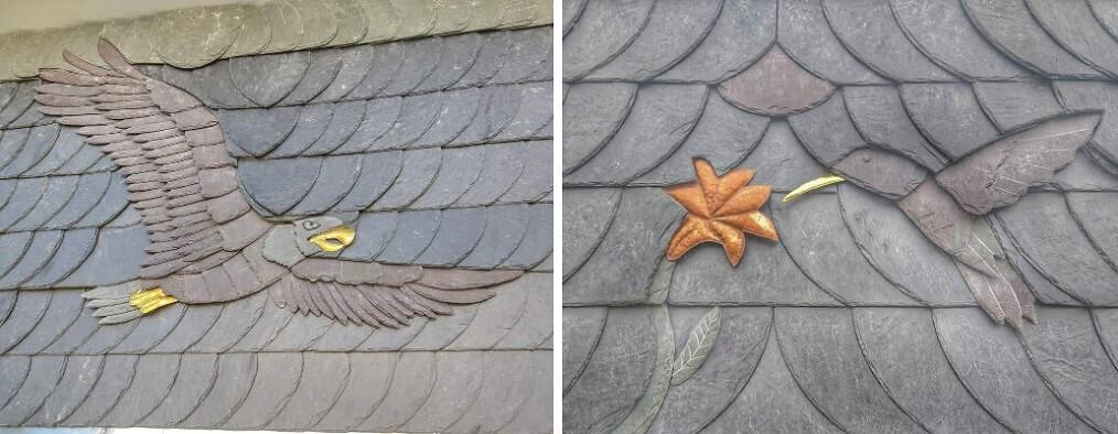 tejado con pizarra ornamental