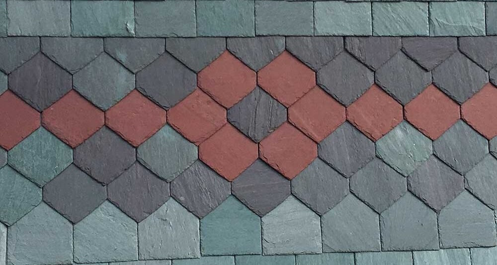 Purple-red slate roofing