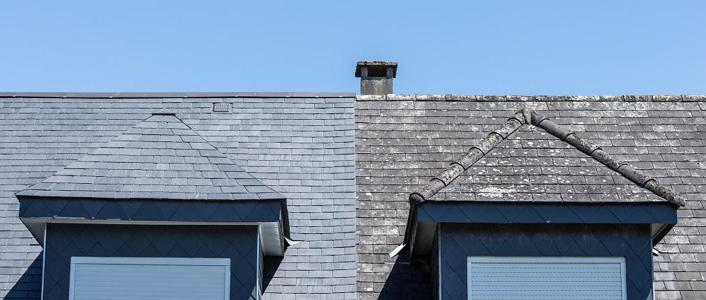 un tejado con amianto y otro con pizarra