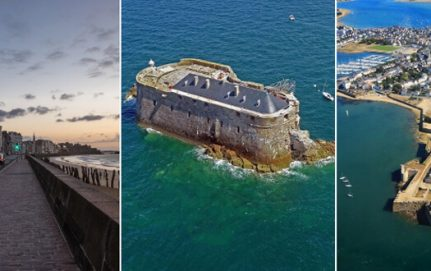 bâtiments en ardoise au bord de la mer en Bretagne
