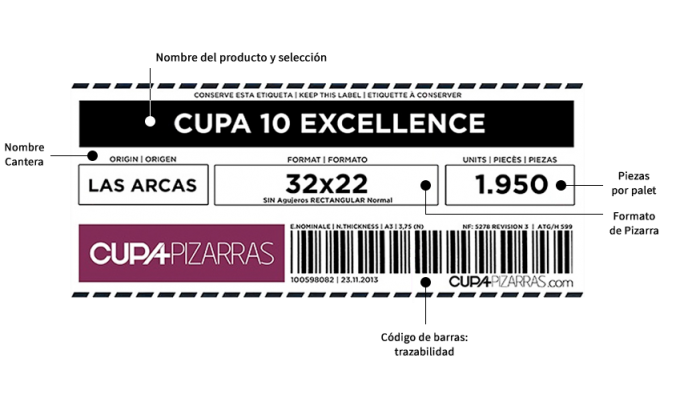 Etiqueta que identifica cada paleta de pizarra CUPA PIZARRAS
