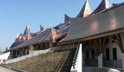 slate roof of the sport and conference centre in Felcsút by Imre Makovecz